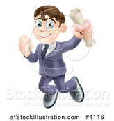 Vector Illustration of a Happy Brunette Graduate Business Man Jumping and Holding a Diploma by AtStockIllustration