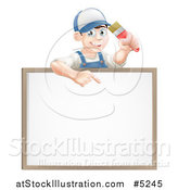Vector Illustration of a Happy Brunette Male House Painter Holding a Brush and Pointing down to a White Board Sign by AtStockIllustration