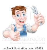 Vector Illustration of a Happy Brunette Middle Aged Caucasian Mechanic Man Holding a Wrench and Thumb up by AtStockIllustration