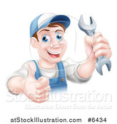 Vector Illustration of a Happy Brunette Middle Aged Caucasian Mechanic Man Holding a Wrench and Thumb up over a Sign by AtStockIllustration