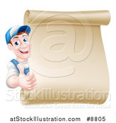 Vector Illustration of a Happy Brunette Middle Aged Caucasian Mechanic Man in Blue, Giving a Thumb up Around a Blank Scroll Sign by AtStockIllustration