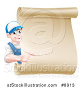 Vector Illustration of a Happy Brunette Middle Aged Caucasian Mechanic Man in Blue, Pointing Around a Blank Scroll Sign by AtStockIllustration