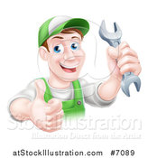 Vector Illustration of a Happy Brunette Middle Aged Caucasian Mechanic Man in Green, Wearing a Baseball Cap, Holding a Wrench and Thumb up by AtStockIllustration