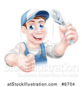 Vector Illustration of a Happy Brunette Middle Aged Caucasian Mechanic Man Wearing a Baseball Cap, Holding a Wrench and Thumb up by AtStockIllustration