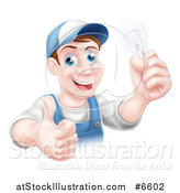 Vector Illustration of a Happy Brunette Middle Aged White Male Electrician Giving a Thumb up and Holding a Light Bulb by AtStockIllustration
