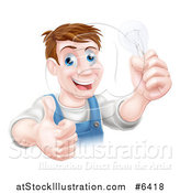 Vector Illustration of a Happy Brunette Middle Aged White Male Electrician Giving a Thumb up and Holding a Light Bulb over a Sign by AtStockIllustration