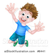 Vector Illustration of a Happy Brunette White Boy Jumping with Excitement and Joy by AtStockIllustration
