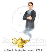 Vector Illustration of a Happy Brunette White Businessman Genie with Folded Arms, Emerging from a Lamp by AtStockIllustration