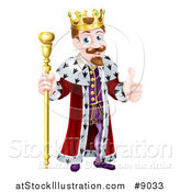 Vector Illustration of a Happy Brunette White King Giving a Thumb up and Holding a Gold Sceptre by AtStockIllustration