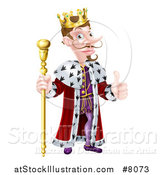 Vector Illustration of a Happy Brunette White King Giving a Thumb up and Holding a Gold Staff by AtStockIllustration