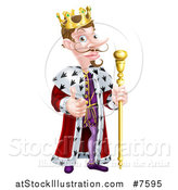 Vector Illustration of a Happy Brunette White King Giving a Thumb up and Holding a Staff 2 by AtStockIllustration