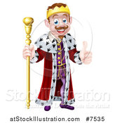 Vector Illustration of a Happy Brunette White King Giving a Thumb up and Holding a Staff by AtStockIllustration