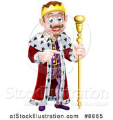 Vector Illustration of a Happy Brunette White King Holding a Scepter and Pointing to the Right by AtStockIllustration