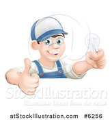 Vector Illustration of a Happy Brunette White Male Electrician Giving a Thumb up and Holding a Light Bulb over a Sign by AtStockIllustration