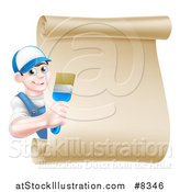 Vector Illustration of a Happy Brunette White Male House Painter Holding a Brush Around a Scroll Sign by AtStockIllustration
