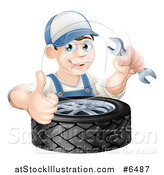 Vector Illustration of a Happy Brunette White Mechanic Man Holding a Wrench and Thumb up over a Tire by AtStockIllustration