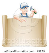 Vector Illustration of a Happy Brunette Worker Man Holding a Hammer and Pointing down at a Scroll Sign by AtStockIllustration