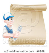 Vector Illustration of a Happy Brunette Young Caucasian Mechanic Man in Blue, Holding an Adjustable Wrench and Looking Around a Blank Scroll Sign by AtStockIllustration