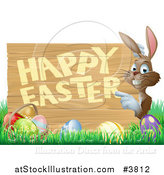 Vector Illustration of a Happy Bunny Pointing to a Happy Easter Sign, with a Basket and Easter Eggs in Grass by AtStockIllustration