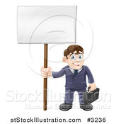 Vector Illustration of a Happy Businessman Carrying a Briefcase and Holding a Sign by AtStockIllustration