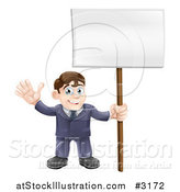 Vector Illustration of a Happy Businessman Waving and Holding a Sign by AtStockIllustration