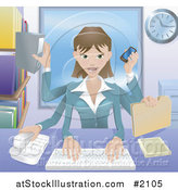 Vector Illustration of a Happy Businesswoman Multi Tasking in Her Office by AtStockIllustration