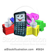 Vector Illustration of a Happy Calculator Character Holding Thumbs up over Math Symbols by AtStockIllustration