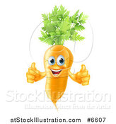 Vector Illustration of a Happy Carrot Vegetable Character Giving Two Thumbs up by AtStockIllustration