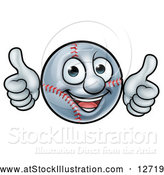 Vector Illustration of a Happy Cartoon Baseball Mascot Giving Two Thumbs up by AtStockIllustration