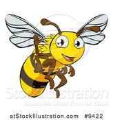 Vector Illustration of a Happy Cartoon Bee Flying and Waving by AtStockIllustration