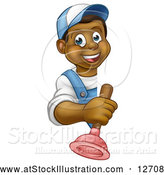 Vector Illustration of a Happy Cartoon Black Plumber Holding Plunger by AtStockIllustration
