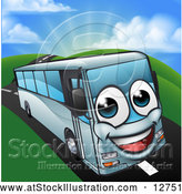 Vector Illustration of a Happy Cartoon Coach Bus Mascot by AtStockIllustration
