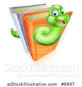 Vector Illustration of a Happy Cartoon Green Worm Going Through Books by AtStockIllustration