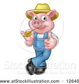 Vector Illustration of a Happy Cartoon Pig Mascot Giving Thumb-up Gesture While Biting Straw by AtStockIllustration