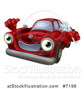 Vector Illustration of a Happy Cartoon Red Car Character Mechanic Holding a Wrench and Thumb up by AtStockIllustration