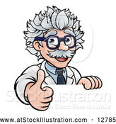 Vector Illustration of a Happy Cartoon Senior Male Scientist Expressing Approval with Thumb up over a Sign by AtStockIllustration