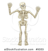 Vector Illustration of a Happy Cartoon Skeleton Character Waving or Dancing by AtStockIllustration
