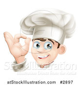 Vector Illustration of a Happy Cauasian Male Chef Gesturing Ok by AtStockIllustration