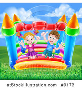 Vector Illustration of a Happy Caucasian Boy and Girl Jumping on a Bouncy House Castle by AtStockIllustration