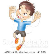 Vector Illustration of a Happy Caucasian Boy Smiling and Jumping into the Air by AtStockIllustration