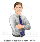Vector Illustration of a Happy Caucasian Businessman with Folded Arms by AtStockIllustration