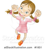 Vector Illustration of a Happy Caucasian Girl Smiling and Jumping into the Air by AtStockIllustration