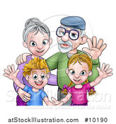 Vector Illustration of a Happy Caucasian Grandparents and Grand Children Waving by AtStockIllustration