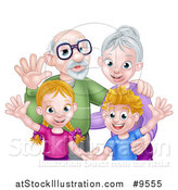 Vector Illustration of a Happy Caucasian Grandparents and Grandchildren Waving by AtStockIllustration