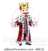 Vector Illustration of a Happy Caucasian King Giving Two Thumbs up by AtStockIllustration