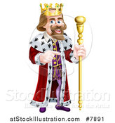 Vector Illustration of a Happy Caucasian King Holding a Staff and Pointing to the Right by AtStockIllustration