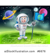 Vector Illustration of a Happy Caucasian Male Astronaut Planting an Earth Flag on a Foreign Planet by AtStockIllustration