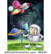Vector Illustration of a Happy Caucasian Male Astronaut Planting an Earth Flag on a Foreign Planet in Outer Space, with a Rocket Flying Above by AtStockIllustration