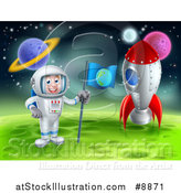 Vector Illustration of a Happy Caucasian Male Astronaut Standing by a Rocket and Planting an Earth Flag on a Foreign Planet by AtStockIllustration