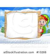 Vector Illustration of a Happy Caucasian Male Christmas Elf Giving a Thumb up Around a Blank Sign in a Winter Landscape by AtStockIllustration